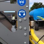 compost turner with safety stickers | EZ Machinery