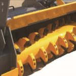yellow skid steer mulcher